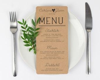 Kraft Paper Wedding Menu - Country Charm