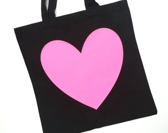 Neon/Sparkle Heart Cotton Tote Bag