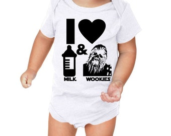 Sale...I Heart Milk and Wookies Funny Baby