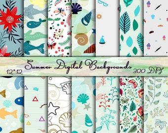 Floral Scrapbook Paper Summer Digital Papers Floral Digital Backgrounds Summer digital backgrounds Sea digital paper Floral paper pack