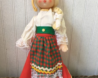 Vintage Russian made peasant girl doll 1970's vintage doll