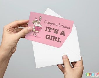 """greeting card, """"congratulations, IT'S A GIRL"""", new baby, welcome baby, baby shower"""