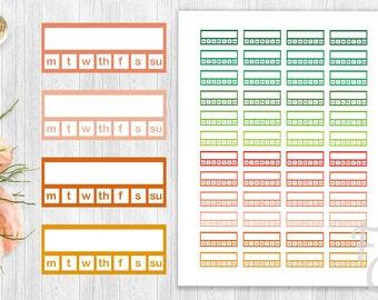 Habit Tracker Printable Stickers, Weekly Habit Tracker Stickers, Erin Condren,Kikki K,Filofax, Plum Paper, Inkwell - v1