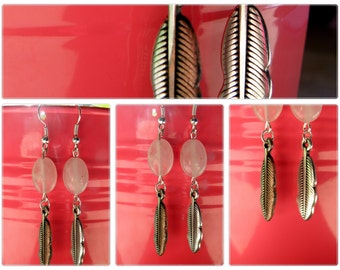Pink feather earings