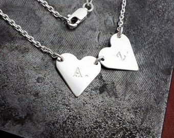 Handmade Personalised Sterling Silver Heart Bunting Necklace