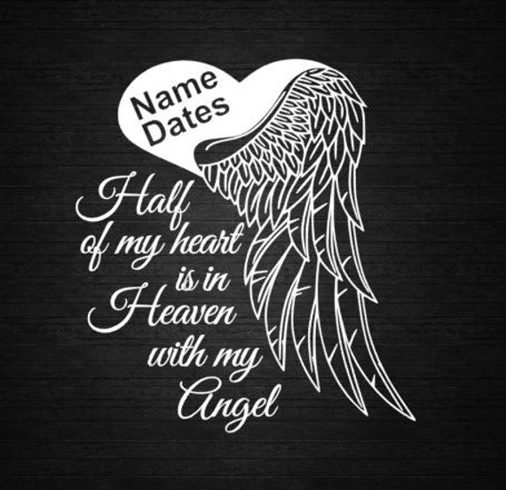 Memorial Tattoo Heart With Wings And Quote: Angel Heart Wings In Memory Of Personalize Vinyl Decal Car