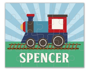 Kids Train Personalized Puzzle - Train Engine Puzzle, Blue Sky, Green Little Train Personalized Puzzle - Kids Personalized Gift under 20