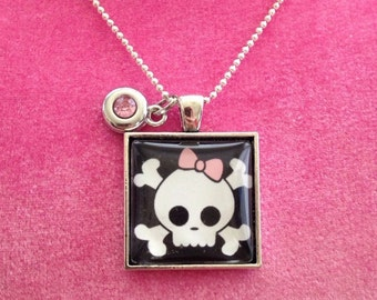 Girly Skull and Bow Necklace