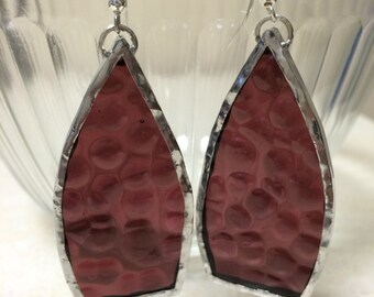 Wine Colored Stained Glass Drop Earrings