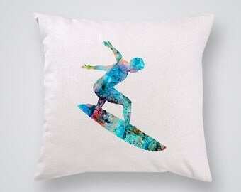 Surfer Pillow Cover -  Home Decor - Decorative Throw Pillow - Colorful Accent Pillow