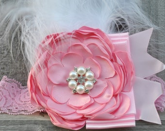 Baby girl headband, Pink,  Feather baby headband, Pearl headband baby, Rosette headband, Baby lace headband, hair accessories for babies