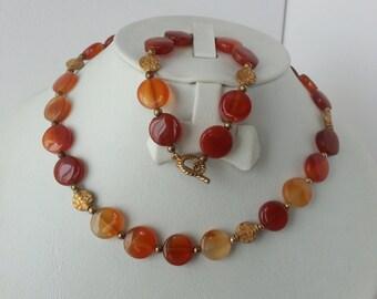 vintage carnelian necklace and bracelet set