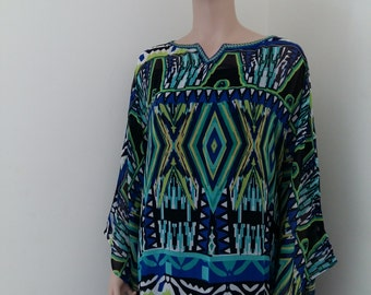 womens chiffon dress/muumuu, gorgeous one of a kind, soft, high quality fabric