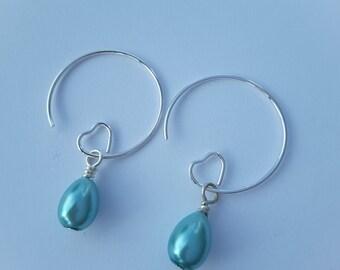 Aqua Teardrop Pearls . Heart Hoops . Earrings