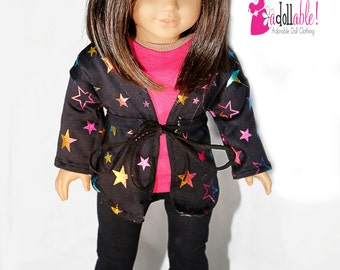 American made Girl Doll Clothes, 18 inch Girl Doll Clothing, Star Jacket, Hot Pink Top, Legging made to fit like American girl doll clothes