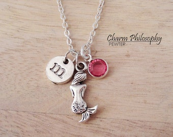 Mermaid Necklace - Mermaid's Back Charm - Magical Creature Jewelry - Monogram Personalized Initial and Birthstone