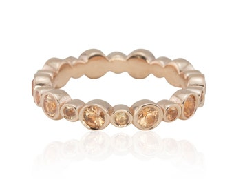 Peach Sapphire Ring - 25% off - Peach Sapphire and Rose Gold Bezel Set Eternity Wedding Band - OFFERS CONSIDERED - LS4298