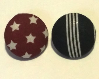 Patriotic Red White and Blue Mismatched Fabric Button Earrings
