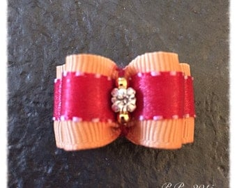 "5/8"" x 1""1/2"" Double loop Gold and Red Top Knot Dog Bow"