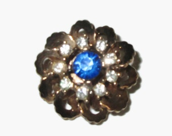 Sapphire Brooch, Vintage Blue Crystal Pin,  Gold Tone,  Mid Century Jewelry, 1950s-1960s, Flower, Floral, Blue