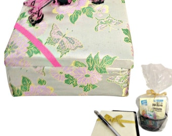Fabric Covered Box in Pink with Butterflies and Stationery for Birthday Gift or Personal Storage and Jewelry