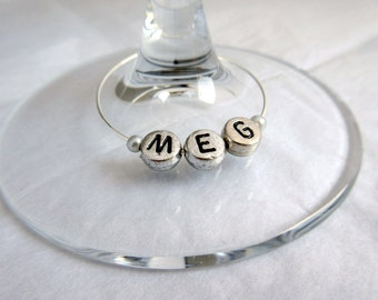 Single Bead Personalised Wine Glass Charms - Hen Party - Wedding - Birthdays - Favours many colours and designs