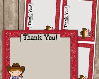 Cowgirl Red Bandana Thank you Cards Flat INSTANT DOWNLOAD
