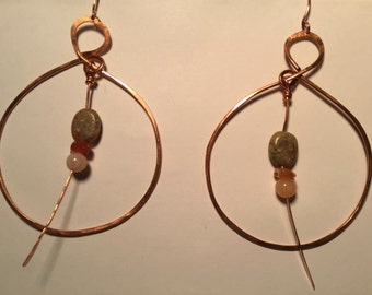 Copper Beaded Hoop