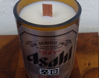 Upcycled/Recycled Asahi Beer Bottle Soy Candle with Wood Wick. Choose your own scent.