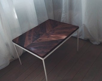 Chevron Walnut Side Table with White Base