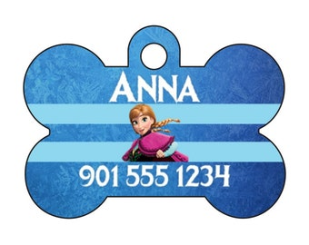 Disney Princess Anna Frozen Pet Id Dog Tag Personalized w/ Name & Number