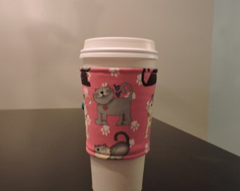 Fabric Coffee Cup Sleeve/Coffee Cup Wrap/Cup Sleeve/Coffee Sleeve/Cat Coffee Sleeve