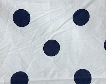 polka dots navy on white