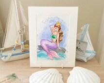 Original watercolour painting of a mermaid pin up