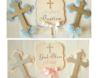 Baptism Boy Girl Centerpiece-Communion Centerpiece-Baptism Centerpiece-Cross Centerpiece-Christening  Centerpiece- MiBautizo Centerpiece