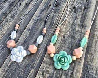 Silicone Beads Teething Necklace / Nursing Necklace for Mom and Baby Shower Gift - Rose