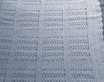 Baby Blue Afghan with silk thread