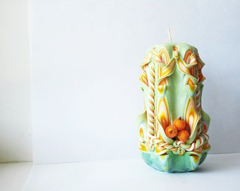 Carved candles-green Orange olive candles carved Interior-carved candles in gift-carved candles buy-carved candles, Berries