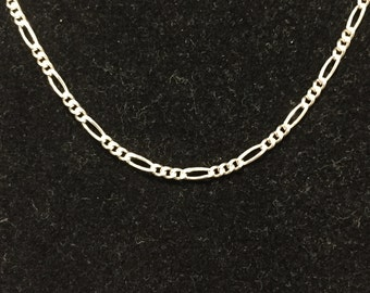 "Sterling 1.8mm Figaro Chain / Necklace 20"" - IJC Italy - Circa 1980's - Item SN119"