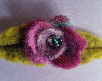 Needle Felted Flower Pin, Needle Felted Flower Brooch, OOAK