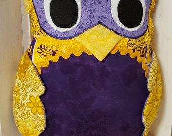 Purple and Gold Owl Pillow