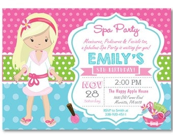 Spa Party Invitation. Spa Birthday Party Invitation. Pajama Party. Pampering Spa Party. Girl Birthday. Pink and Aqua. Printable Digital.