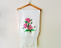 Vintage Embroidered Towel/Moldovan Traditional Towel/Table Runner/Country Style/Hand Embroidered Towel/Hand Woven Towel/2.6 yd/Rustic Home