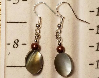 Abalone and pearl earrings