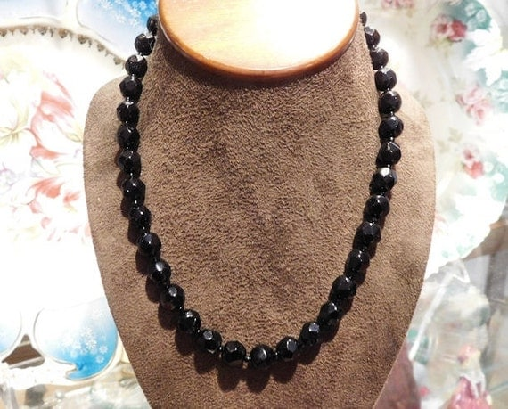 French Jet Black Glass Necklace Choker 1950's Mid Century Midcentury Necklace Faceted Beads Beaded Necklace Mourning Jewelry Hand Strung
