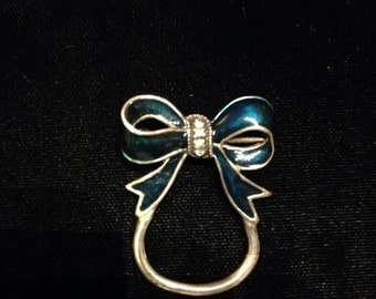 Vintage Sterling Silver Blue Green Enamel Bow Pin Brooch Pendant and Charm Holder
