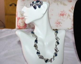 Stunning Vintage Indigo Blue Rhinestone Necklace and Earring Set
