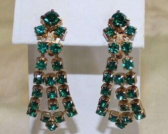 Vintage, Emerald Green, Dangle, Rhinestone Earrings