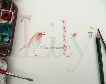 Baby name art etsy baby name art in watercolour name art custom name unique baby gift negle Gallery