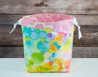 Butterfly Garden- Sock Knitting Bag, Knitting Project Bag, Drawstring Bag, Small Project Bag, Crochet Bag,